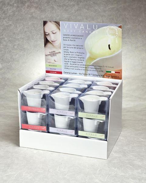 espositore candele da massaggio VIVALU