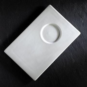 Vassoio Portacandela porcellana bianca